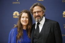 Sarah Cain and Marc Maron