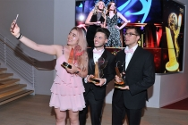 Echo Wu, John McDonald, and Kai Athannassov at the 38th College Television Awards presented by the Television Academy Foundation at the Saban Media Center on Wednesday, May 24, 2017, in the NoHo Arts District in Los Angeles.