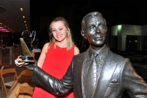 Erika Orstad and friend celebrate her win at the 38th College Television Awards presented by the Television Academy Foundation at the Saban Media Center on Wednesday, May 24, 2017, in the NoHo Arts District in Los Angeles.